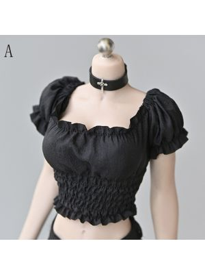 1/6 Scale Short Puff Sleeve Top Clothes Fit 12 Female Phicen TBLeague Figure Body Dolls