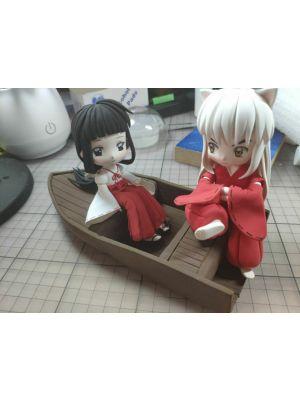 Handmade InuYasha Kikyō and InuYasha Chibi Clay Figure