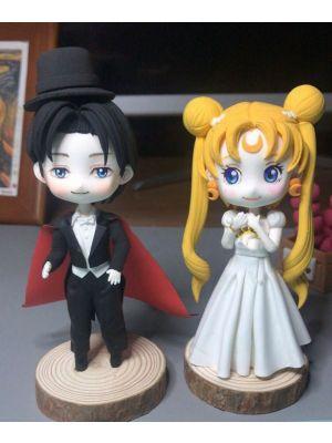 Handmade Sailor Moon Usagi Tsukino Tuxedo Mask Mamoru Chiba Chibi Clay Figure