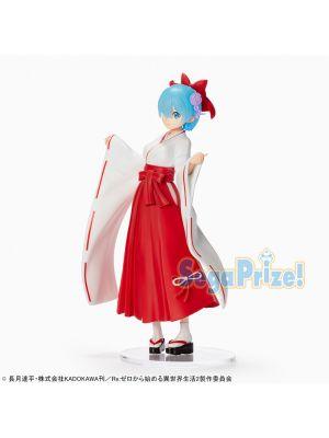 RE:ZERO Figure Ram & Rem Shrine Maiden Style Prize Figure By Sega